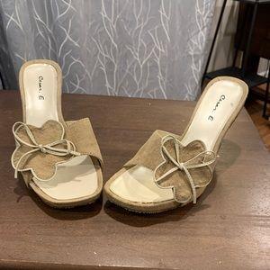 tan and cream slip on heels